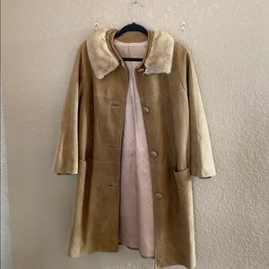 Vintage Suede Coat with Fur Collar
